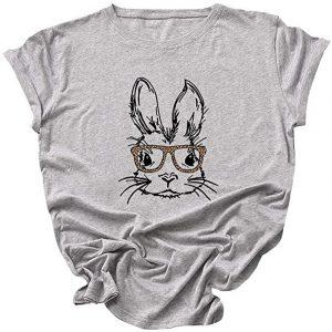 camiseta de conejos para mujer con gafas gris
