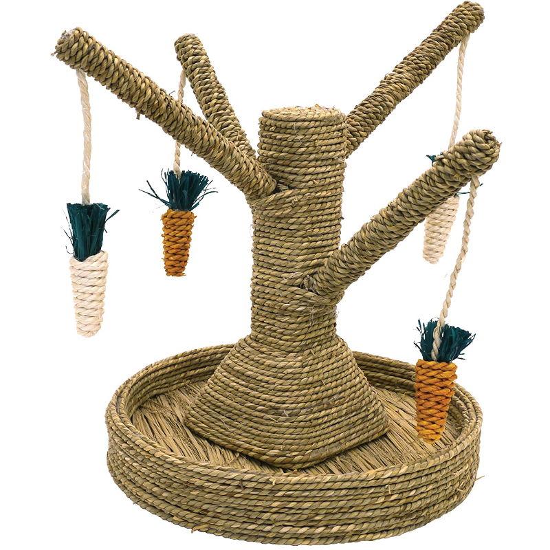 juguete árbol de ratán con zanahorias para conejos enanos