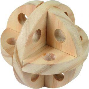 Pelota de madera juguete para conejos enanos