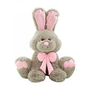 conejo de peluche gigante gris y rosa