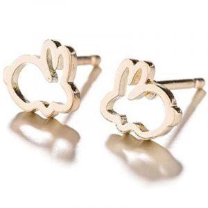 pendientes de acero conejitos dorados para mujer