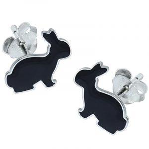 pendientes de plata conejos negros
