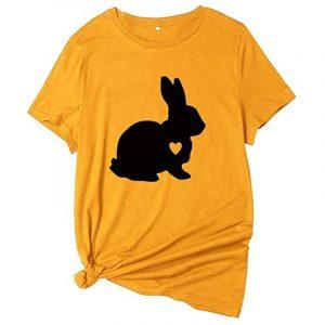 camiseta amarilla de conejos para mujer