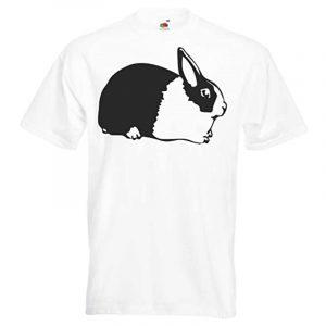 camiseta blanca con conejo negro para hombre