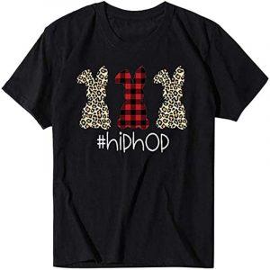 camiseta negra hiphop de conejos para hombre