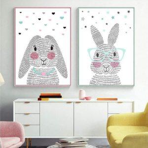 Lámina decorativa de pared conejo rosa y conejo azul