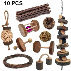 juguetes para roer de madera para conejos enanos