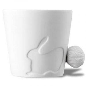 decoración de conejos taza de desayuno blanca de cerámica