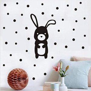 decoración de pared vinilo infantil conejito y lunares